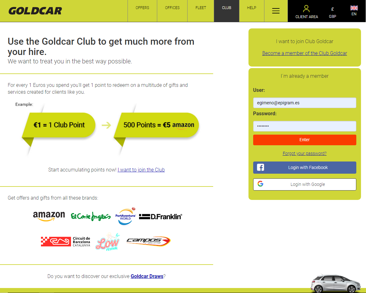 How do you become a member of Club Goldcar? (2)