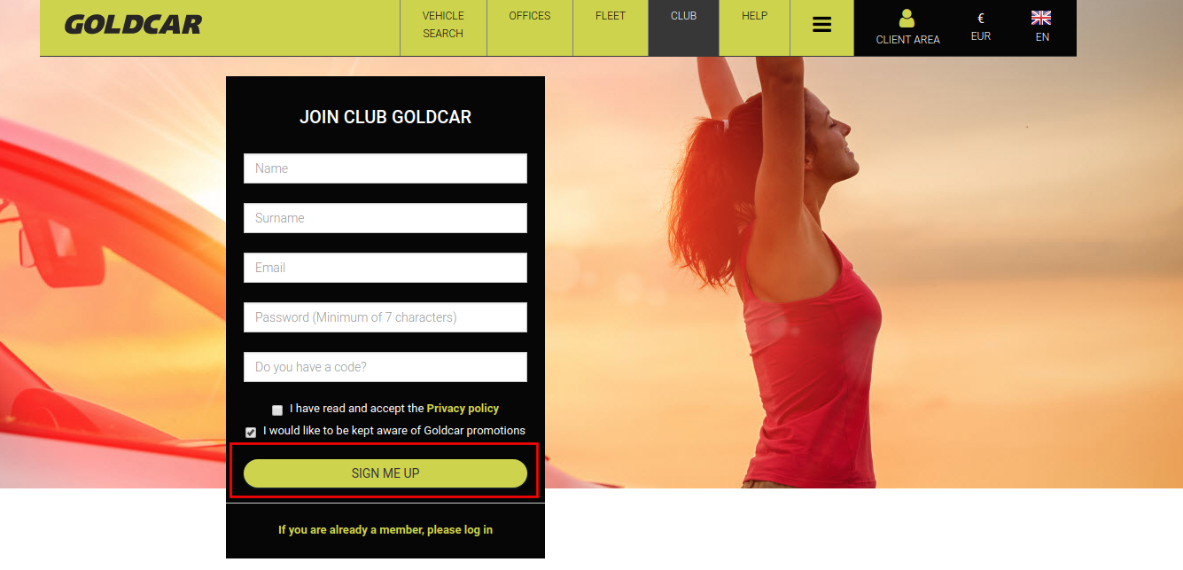 How do you become a member of Club Goldcar? (3)