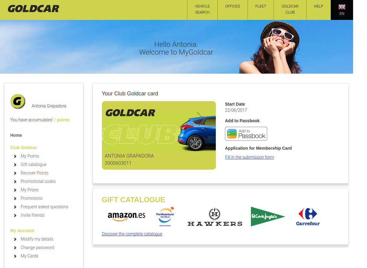 How do you become a member of Club Goldcar? (5)