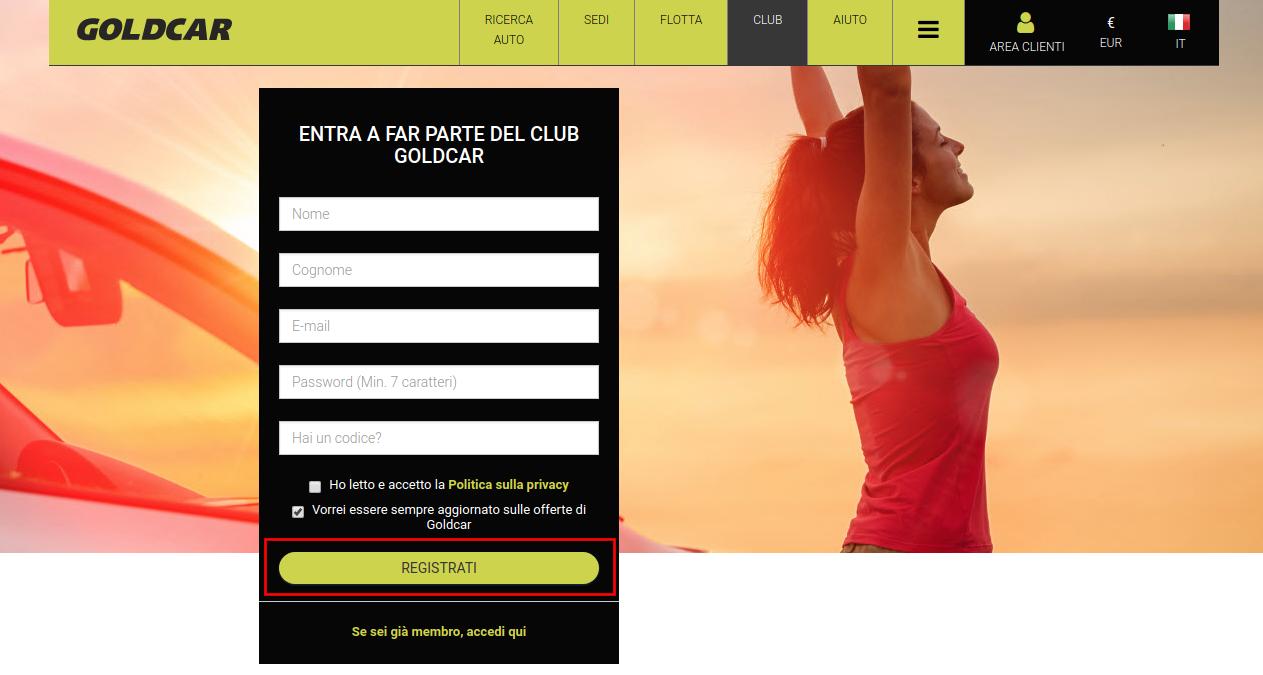Come diventare membro del Club Goldcar?  (3)