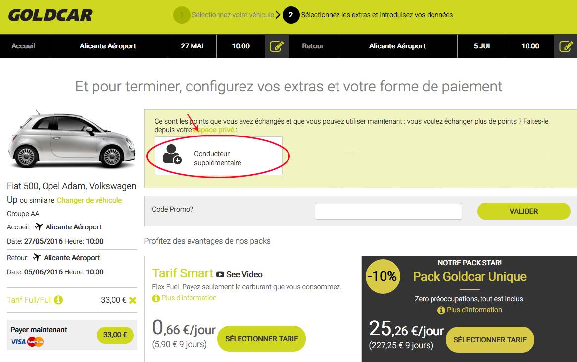 Comment puis-je échanger le prix « conducteur additionnel », et comment l'appliquer lors de la réservation? (7)