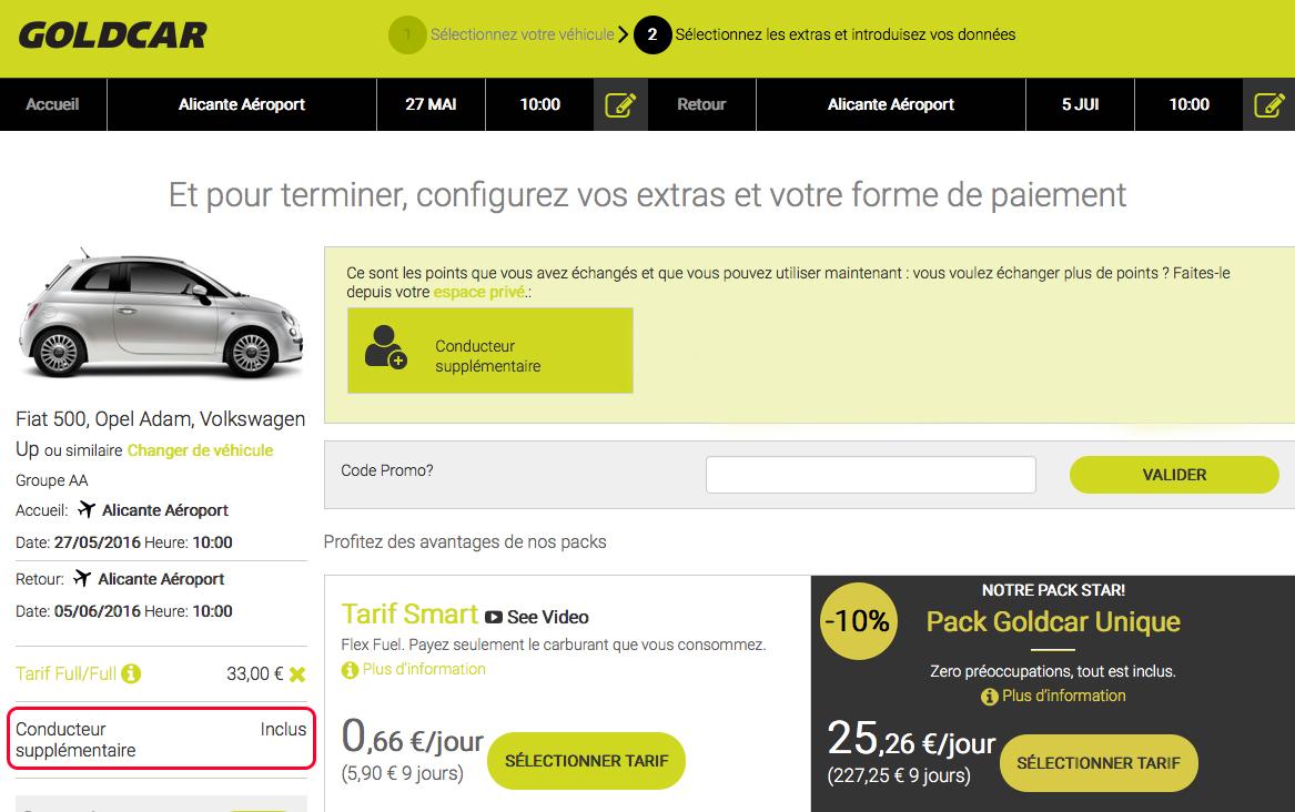 Comment puis-je échanger le prix « conducteur additionnel », et comment l'appliquer lors de la réservation? (8)