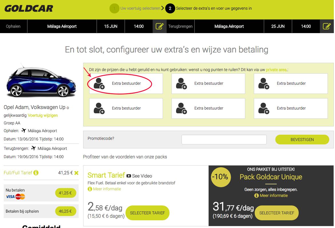 """De prijs """"extra bestuurder"""" ruilen en toepassen op de reservering    (7)"""