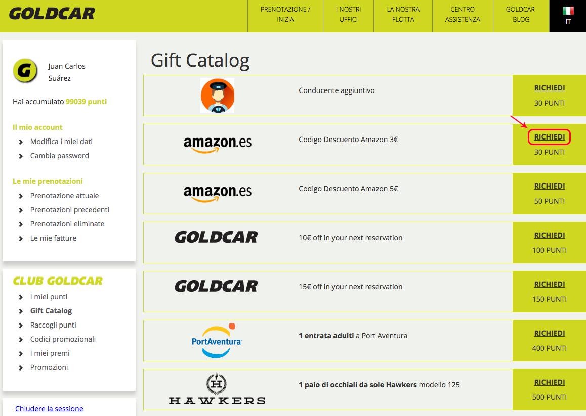 Come posso chiedere in premio i buoni sconto Amazon?  (3)