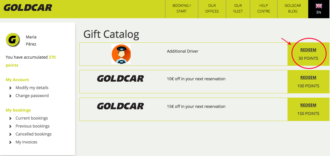 How to redeem points for discounts on the next rental?  (3)