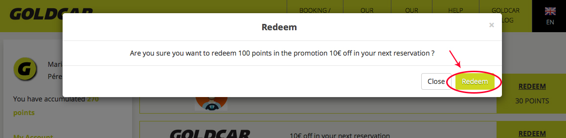 How to redeem points for discounts on the next rental?  (4)