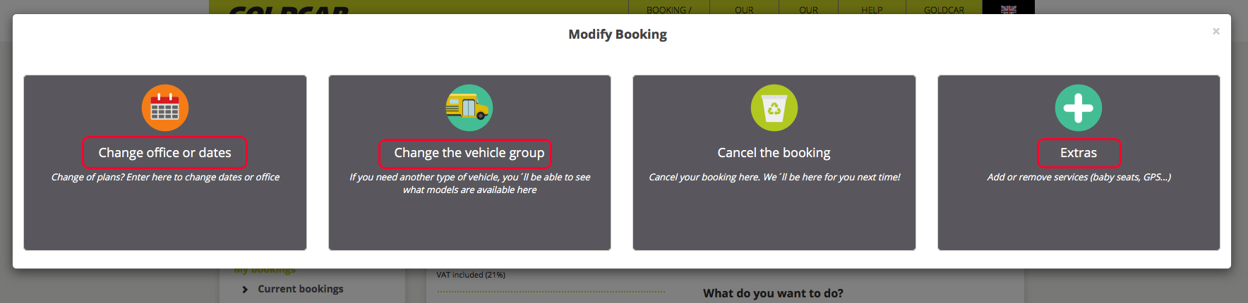 How can I change my booking (change of date, change of vehicle, add or remove extras…) (4)