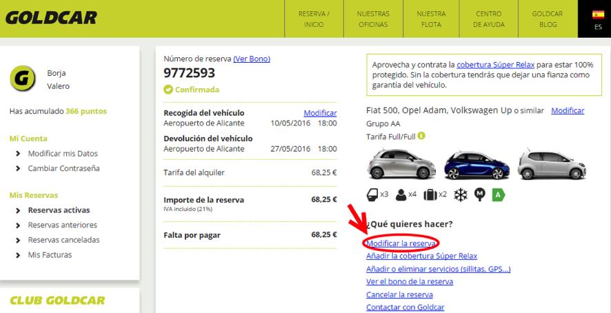 ¿Cómo modifico mi reserva? (Cambiar de fecha, cambiar de vehículo, añadir o eliminar extras...) (3)