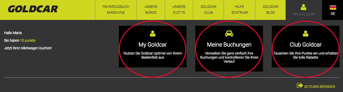 Wie logge ich mich bei Club Goldcar ein? (Wenn Sie bereits Mitglied sind) (2)