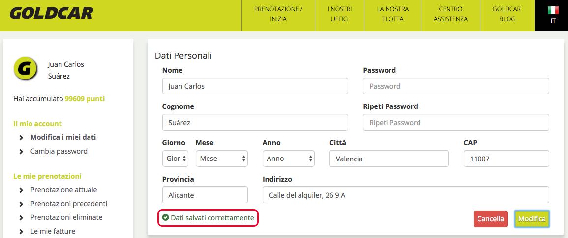 Coma faccio a modificare i mei dati e password?      (4)