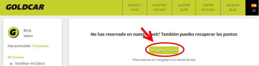 ¿Cómo solicito puntos de reservas anteriores? (3)