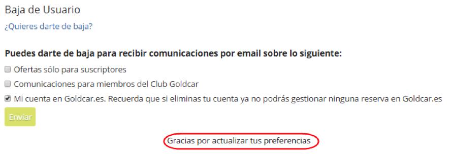 ¿Cómo darse de baja del Club Goldcar? (4)