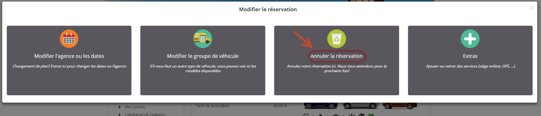 Comment puis-je annuler ma réservation ? (4)